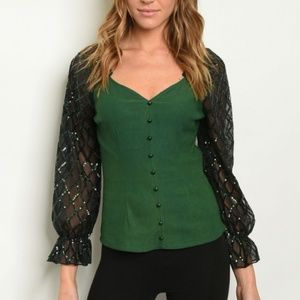💚Green Sequin Button Up Blouse (S M L)💚